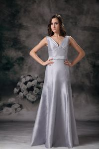 V-neck Satin Ruching Grey New Mother Bride Dresses in Parsippany