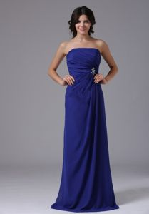Peacock Blue Ruched Beading Strapless Paramus Mother Bride Dresses