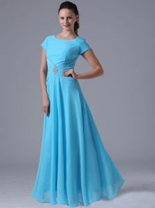 Scoop Aqua Blue Beading Ruched Mother Bride Dress in Atlantic City