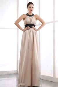 Champagne Halter Beading Taffeta Lawrenceville Mother Bride Dress