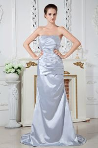 Beading Ruched Brush Train Satin Silver Hackensack Mother Dresses