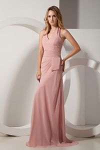Halter Light Pink Ruched Train Chiffon Mother Dress in Montclair