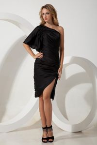 Black One Shoulder Ruched Black Mother Bride Dress in Morristown