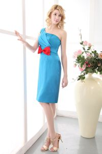 Sky Blue Ruched One Shoulder Mother Dress with Bow in Jersey City
