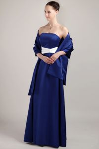 Royal Blue Strapless Ruched Taffeta Mother Of The Bride Dresses