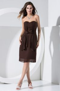 Ruched Brown Chiffon Mother Dresses with Bowknot in Saint Charles