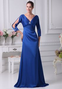Royal Blue V-neck Mother Bride Dress with Long Sleeves in Joplin