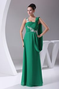 Appliques Ruched Green Straps Jefferson City Mother Of Bride Dress