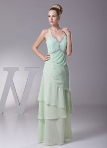 Layered Chiffon V-neck Apple Green Mother Bride Dress in Columbia