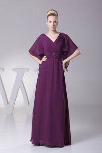 Ruched V-neck Beaded Dark Purple Mother Bride Dresses with Sleeves