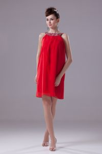 Scoop Beadings Red Chiffon Short Jackson Mother Of Bride Dresses