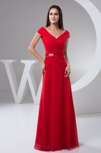 Ruched Off The Shoulder Red Mother Of Bride Dresses in Roseville