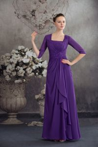 Square Ruching Purple Beading New Mother Dress in Massachusetts