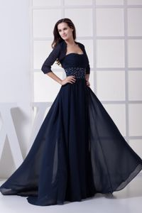 Beading Ruched Navy Blue Mother Of The Bride Dresses in Northfield