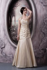 Halter Ruched Taffeta Champagne Mother Bride Dress in Eden Prairie