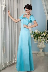 Column Strapless Satin Aqua Blue Mother Dresses in Bloomington