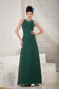 Scoop Beading Dark Green Mother Of The Bride Dress in Royal Oak