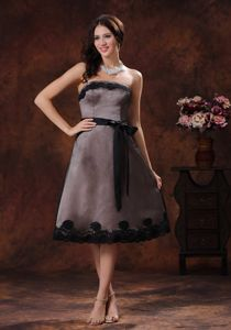 Black Appliques Brown Sash Mother Of The Bride Dress in Kalamazoo