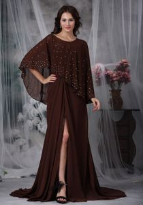 Ruched High Slit Brown Connecticut Mother Dresses with Brush Train