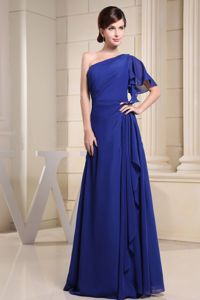 Bloomfield Hills One Shoulder Blue Mother Dress with Short Sleeve