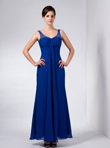 Blue Straps Taffeta Beading Wilmington Mother Of The Bride Dress