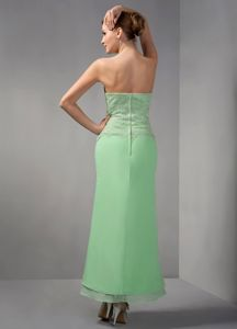 Appliques Apple Green Strapless Chiffon Springfield Mother Dress