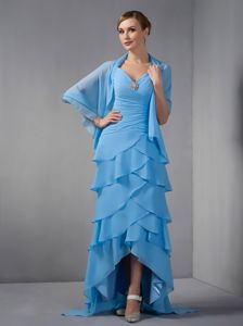 Layered High-low Sky Blue Beaded Straps Mother Of Bride Dress