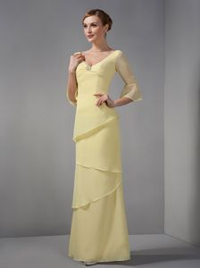 Long Sleeves Yellow V-neck Chiffon Mother Dresses in Watertown