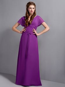 Purple V-neck Chiffon Ruched Provincetown Mother Bride Dresses