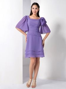Purple Square Layered Chiffon Mother Dress with Butterfly Sleeves