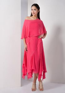 Asymmetrical Sequins Coral Red Chiffon Salem Mother Of Brides Dress