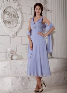 V-neck Lilac Chiffon Ruched Beading Mother Bride Dress in Peabody