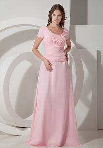 Scoop Ruched Baby Pink Chiffon Beaded Mother Dress in Needham
