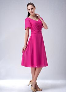 V-neck Hot Pink Ruched Chiffon Mother Dress with Short Sleeves