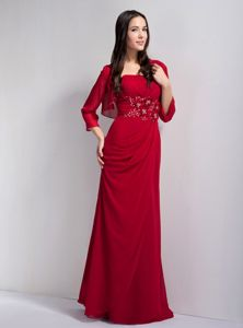 Beaded Red Strapless Chiffon Medford Mother Of The Bride Outfits