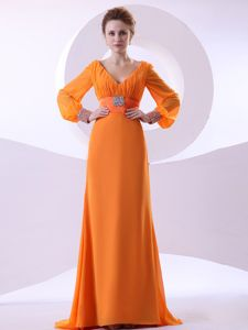 V-neck Long Sleeves Beaded Ruching Orange Mother Dress in Danvers