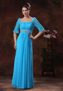 Half Sleeves Beaded Square Sky Blue Mother Bride Dresses in Beverly