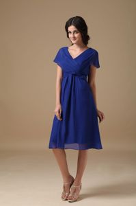 V-neck Chiffon Ruched Royal Blue Bedford Mother of the Bride Dress