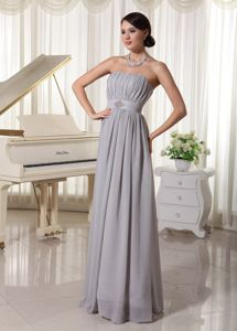 Ruched Grey Beading Chiffon Mother Of Bride Dress in Harrisburg