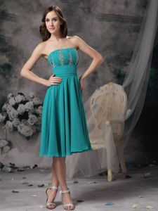 Turquoise Beaded Strapless Chiffon Mother Dresses in Harrisburg