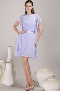 Bateau Lilac Sash Chiffon Mother Of The Bride Dresses in Potomac