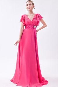 Hot Pink V-neck Ruched Train 2014 Mother Dress with Short Sleeves