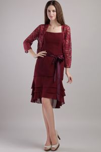 Layered Ohio Burgundy Chiffon Mother of Bride Dresses with Sash