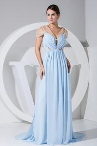 V-neck Ruched Side Slit Light Blue and Champagne Mother Dresses