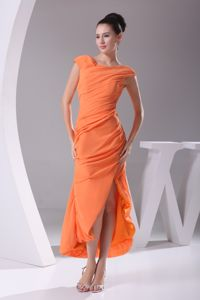 Cap Sleeves Scoop Orange Ruched Slit Topeka Mother Of Bride Dress