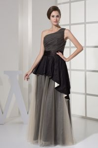 Ruching Single Shoulder Champagne and Black Mother Dress in Slidell