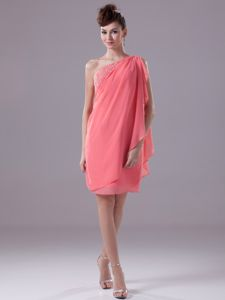 One Shoulder Watermelon Beaded Monroe Mother Dress with Side Zipper