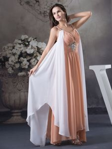 Beaded Straps Ruching Peach and White Montgomery Mother Dresses