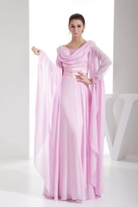 Long Sleeves Ruched Pink Chiffon Floor-length Mother Dresses in Alaska