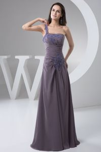 Appliques One Shoulder Purple Zipper-up Mother of The Groom Gowns